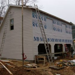 finishing construction on a two story garage