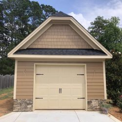 one-car garage with stone detailing